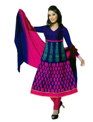 Salwar Studio Blue & Pink Cotton Printed unstitched churidar kameez with dupatta PK-3001