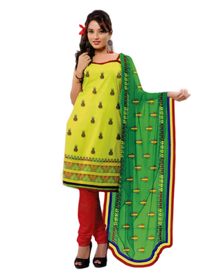 Salwar Studio Parrot Green & Red Chanderi Printed unstitched churidar kameez with dupatta PK-3005