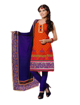 Salwar Studio Orange & Blue Chanderi Printed unstitched churidar kameez with dupatta PK-3007