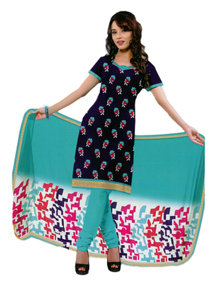 Salwar Studio Blue & Sky Blue Cotton Printed unstitched churidar kameez with dupatta PK-3009