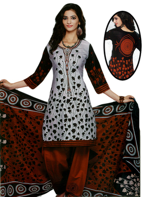 Salwar Studio Grey & Red Cotton Printed unstitched churidar kameez with dupatta SD-563
