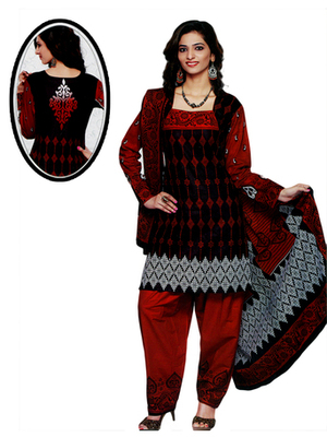 Salwar Studio Red & Black Cotton Printed unstitched churidar kameez with dupatta SD-567