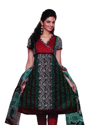Salwar Studio Green & Red Cotton Printed unstitched churidar kameez with dupatta SD-569