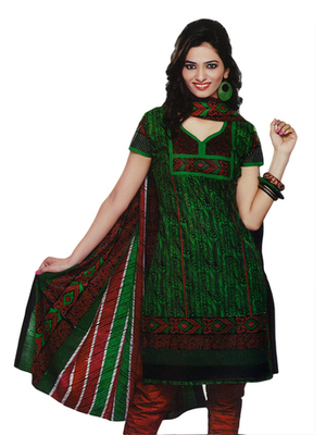 Salwar Studio Green & Red Cotton Printed unstitched churidar kameez with dupatta SD-571