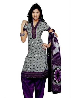 Salwar Studio White & Purple Cotton Printed unstitched churidar kameez with dupatta SD-574