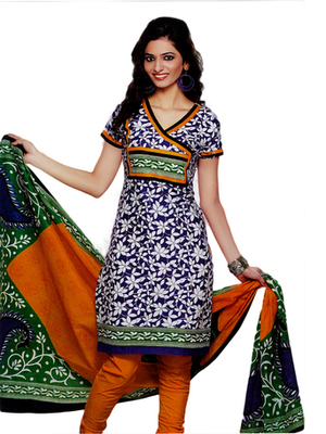 Salwar Studio Blue & Orange Cotton Printed unstitched churidar kameez with dupatta SD-578