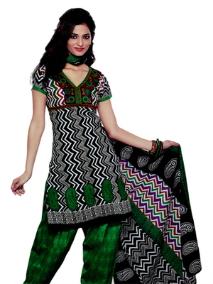 Salwar Studio Green & Black  Cotton Printed unstitched churidar kameez with dupatta SD-580