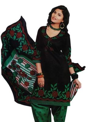 Salwar Studio Black & Green Cotton Printed unstitched churidar kameez with dupatta SD-582