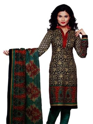 Salwar Studio Fawn & Green Cotton Printed unstitched churidar kameez with dupatta SD-584
