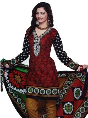 Salwar Studio Red & Black Cotton Printed unstitched churidar kameez with dupatta SD-588