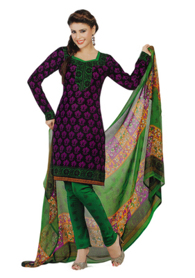 Salwar Studio Magenta & Green Synthetic Printed unstitched churidar kameez with dupatta Shri-2007