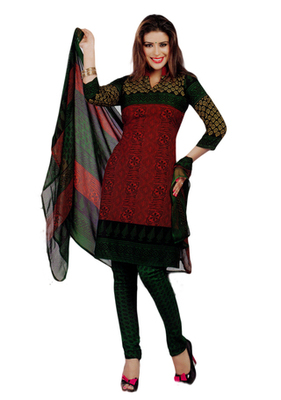 Salwar Studio Red & Green Synthetic Printed unstitched churidar kameez with dupatta Shri-2011