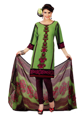 Salwar Studio Green Synthetic Printed unstitched churidar kameez with dupatta Shri-2016
