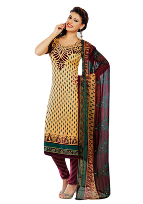 Salwar Studio Fawn & Maroon Synthetic Printed unstitched churidar kameez with dupatta Shri-2018