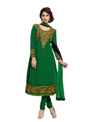 Salwar Studio Green & Black semi georgette Anarkali designer semistitched churidar kameez with dupatta  JC-1006