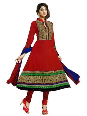 Salwar Studio Red semi georgette Anarkali designer semistitched churidar kameez with dupatta  JC-1008