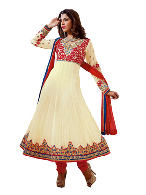 Salwar Studio Fawn & Red semi georgette Anarkali designer semistitched churidar kameez with dupatta  KY-5007