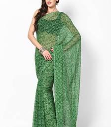 Green Bandhej Print Saree