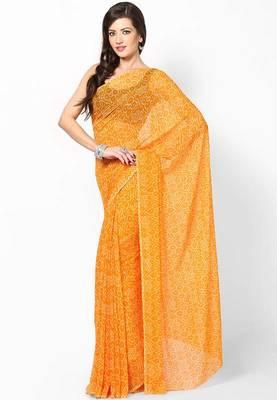 Orange Bandhej Print Saree
