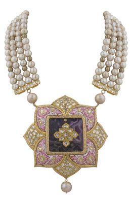 Pink Lotus Meenakari And Pearls Necklace Set