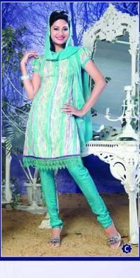 Spun Cotton Lacer Salwar Kameez Churidar Dress Meterial SC1057C