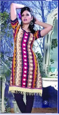 Spun Cotton Lacer Salwar Kameez Churidar Dress Meterial SC1059D