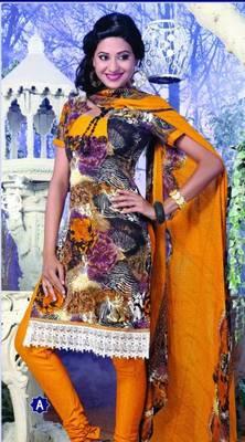 Spun Cotton Lacer Salwar Kameez Churidar Dress Meterial SC1063A