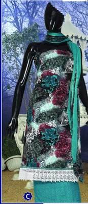 Spun Cotton Lacer Salwar Kameez Churidar Dress Meterial SC1063C
