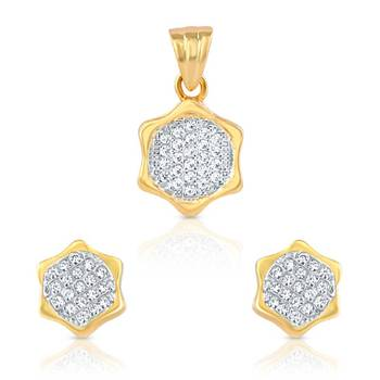 Mahi Gold Plated Brilliant Cluster Pendant Set with CZ Stones