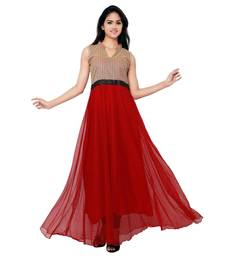 Buy Red net plain semi stitched party wear gown party-wear-gown online