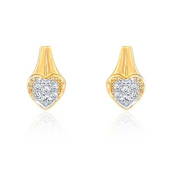 Mahi  Gold Plated Shimmering Heart Earrings with CZ Stones