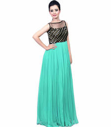 Buy Green georgette embroidered stitched party wear gowns party-wear-gown online