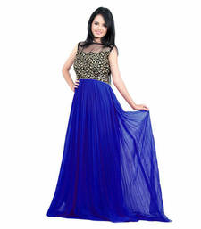 Buy Blue georgette embroidered stitched party wear gowns party-wear-gown online