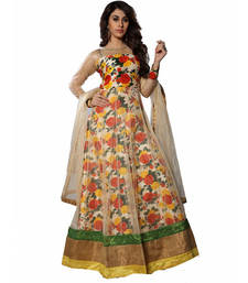 Buy Beige net printed stitched party wear gowns party-wear-gown online