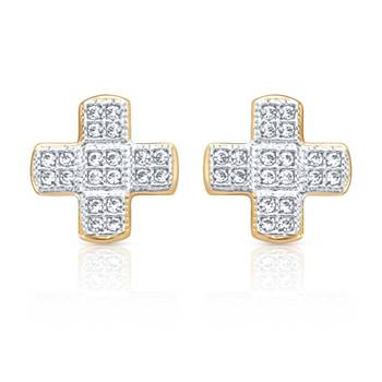 Mahi  Gold Plated Intense Beauty Earrings with CZ Stones