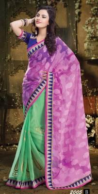 Half Super Net & Half Khadi Silk Saree