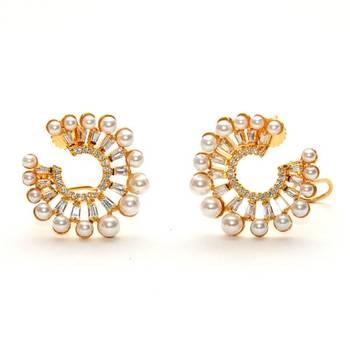 Anvi's polki pearl earrings with white stones