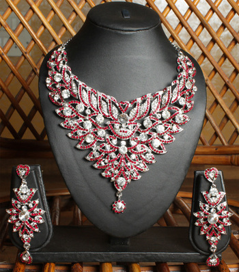 Royal Red and Silver Designer Necklace Set