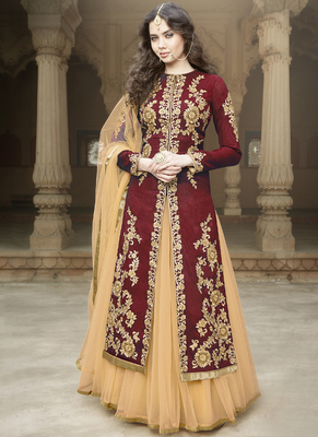 Maroon Art Silk Embroidered Semi Stitiched Salwar With Dupatta
