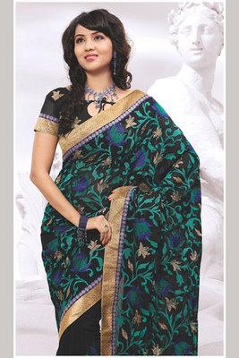 Black Chiffon Saree Decorated with Beautiful Zari and Patch-patti work