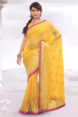 Beautiful Zari Work Yellow Chiffon Saree