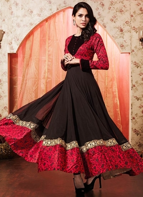 a2a7a86ca57 Brown georgette embroidered semi stitched salwar with dupatta - MR SUITS -  1328881