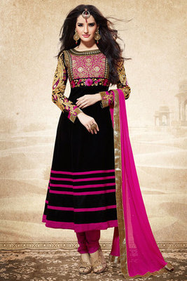 Dazzling Black Georgette Anarkali Suit With Fancy Resham Embroidery work
