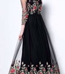 Buy Black georgette embroidered semi stitched salwar with dupatta indowestern online
