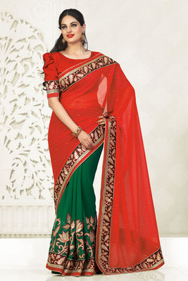 A Very Fine Red And Green Georgette Saree Adorned with Resham Stone work