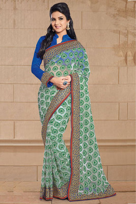 Green Net and Brasso Saree Designed with Zari and Patch work
