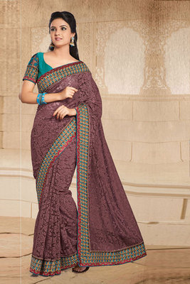 A Chikoo Colour Net Brasso Saree