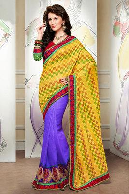 Yellow and Purple Banarasi Jacquard Saree Designed with Zari and Resham Embroidery work