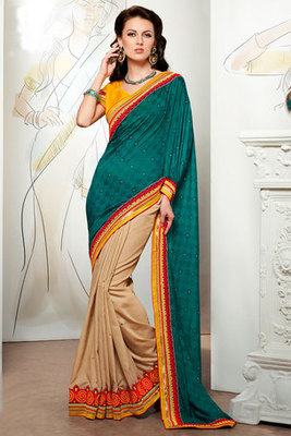 Green and Cream Zari and Patch work Saree with Viscose Fabric