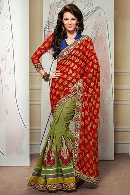 Attractive Maroon and Green Banarasi Jacquard Saree